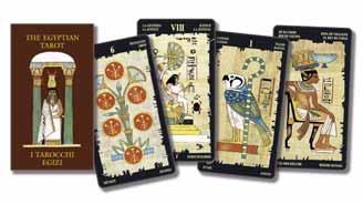immagine raffigurante quattro carte dei tarocchi egizi disposte orizzontamente