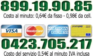 banner con numero 899 e con numero urbano per pagamenti con carta di credito
